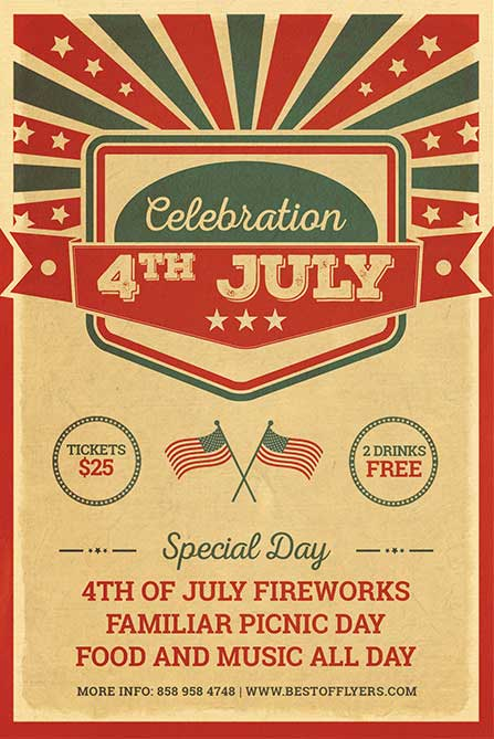 Free 4th July Celebration Poster and Flyer PSD Template