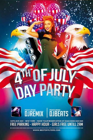 Free 4th July Poster and Flyer PSD Template