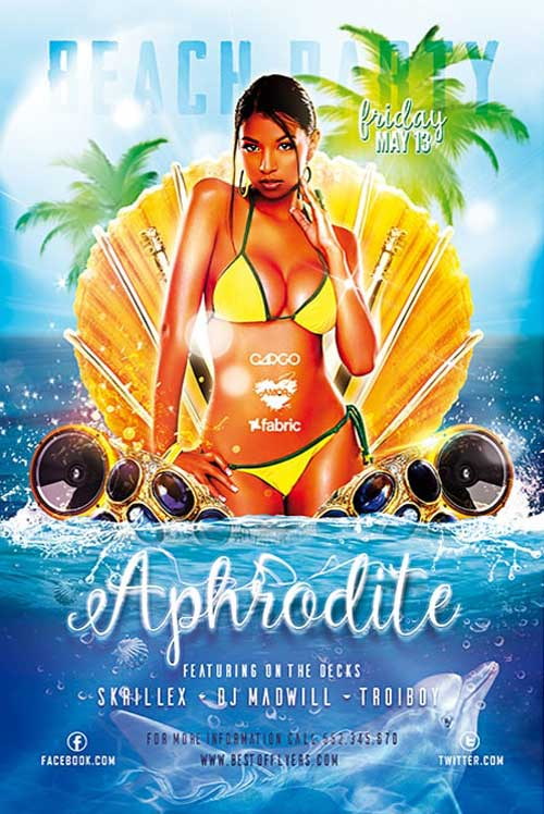 Free Aphrodite Beach Party Flyer Template