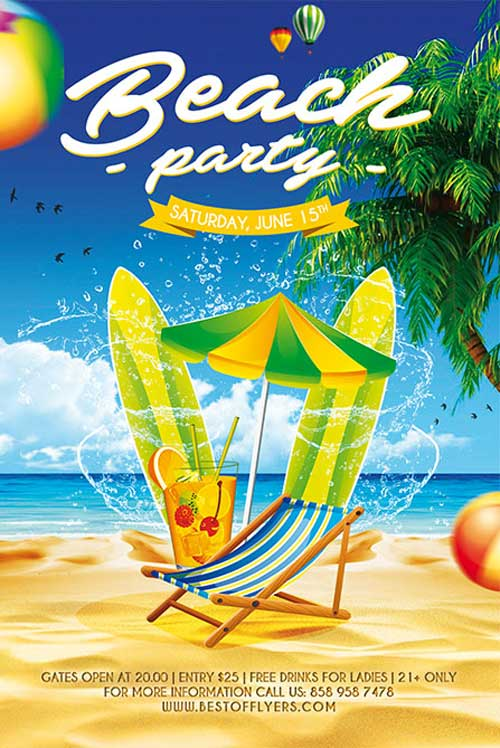 Free Beach Party Flyer and Poster Template