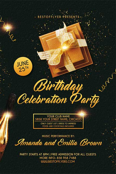 Free Birthday Celebration Flyer and Poster Template