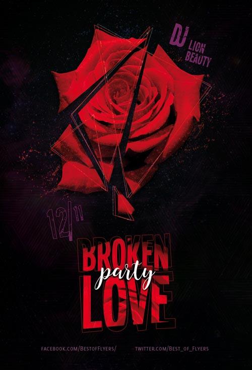 Free Broken Love Party Flyer Template