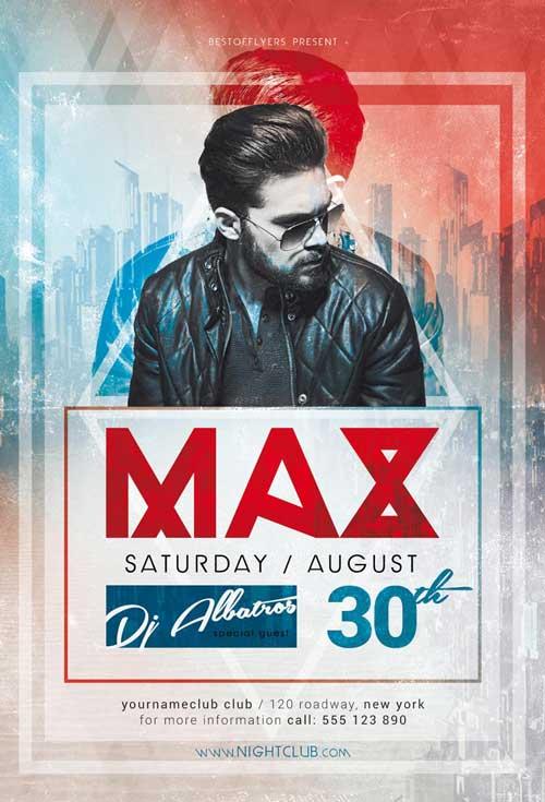 Free DJ Max Minimal Party Flyer Template