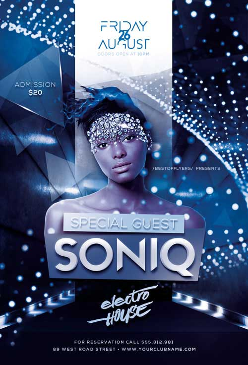 Free DJ Soniq Electro Party Flyer Template