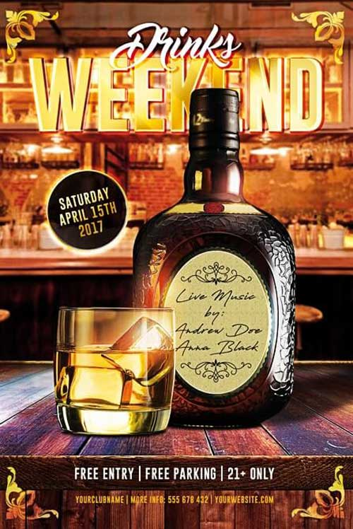 Free Drinks Weekend Party Flyer Template