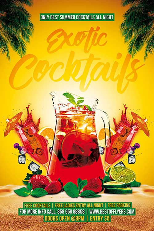 Free Exotic Cocktails Party Flyer and Poster Template