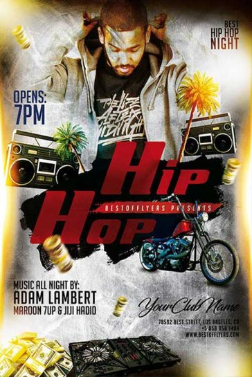 Free Hip-Hop Night Poster and Flyer Template