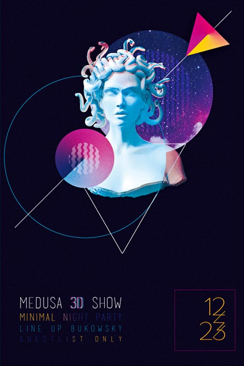 Free Medusa Electro Party Flyer Template