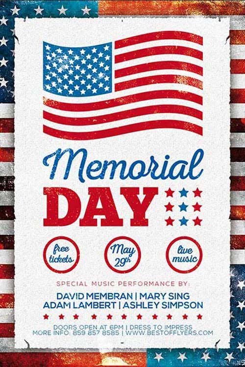 Free Memorial Day Poster and Flyer PSD Template