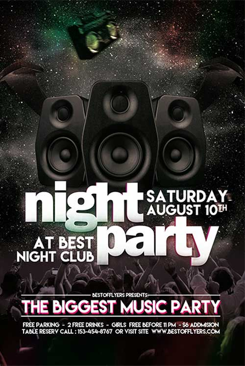 Free Party Night Flyer and Poster Template