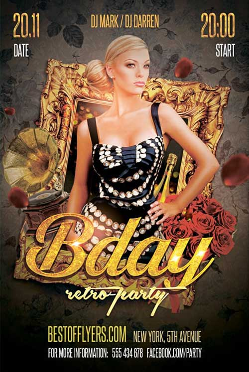 Free Retro B-Day Party Flyer Template