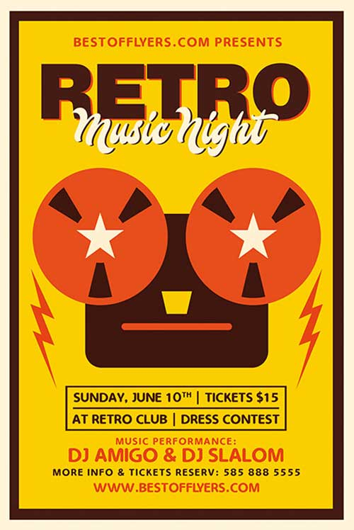 Free Retro Music Night Flyer and Poster Template