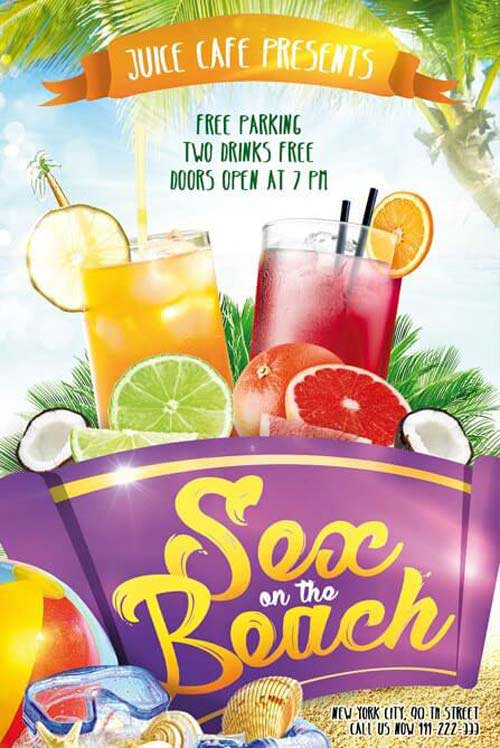 Free Sex on the Beach Cocktail Flyer Template