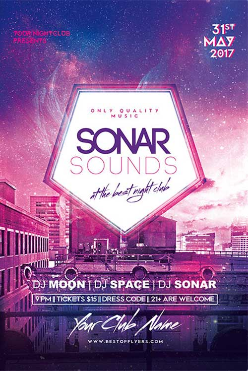 Free Sonar Sounds Poster and Flyer Template