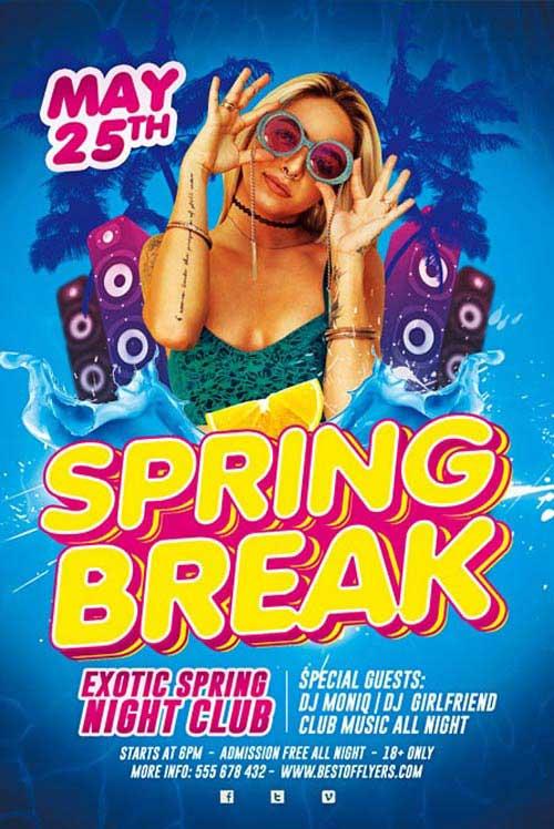 Free Spring Break Party Flyer and Poster Template