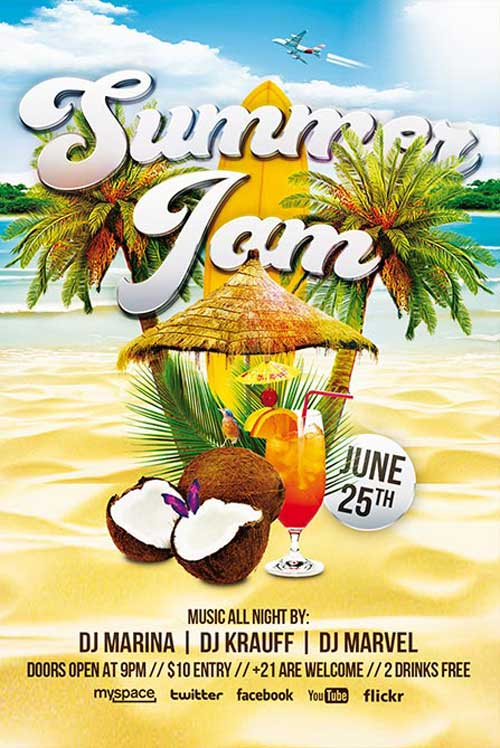 Free Summer Jam Flyer and Poster Template