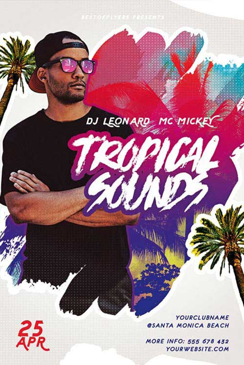 Free Tropical Sounds Party Flyer Template