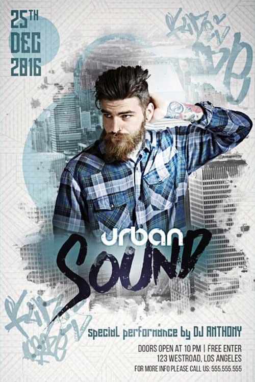 Free Urban DJ Sound Party Flyer Template