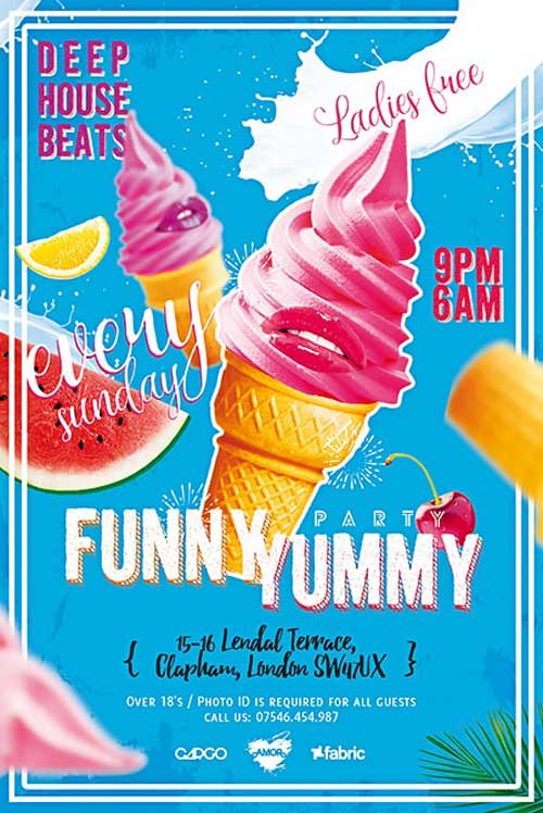 Free Funny Yummy Party Flyer Template