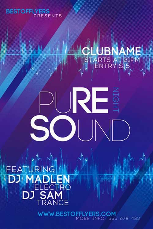 Free Pure Sounds Night Flyer and Poster Template