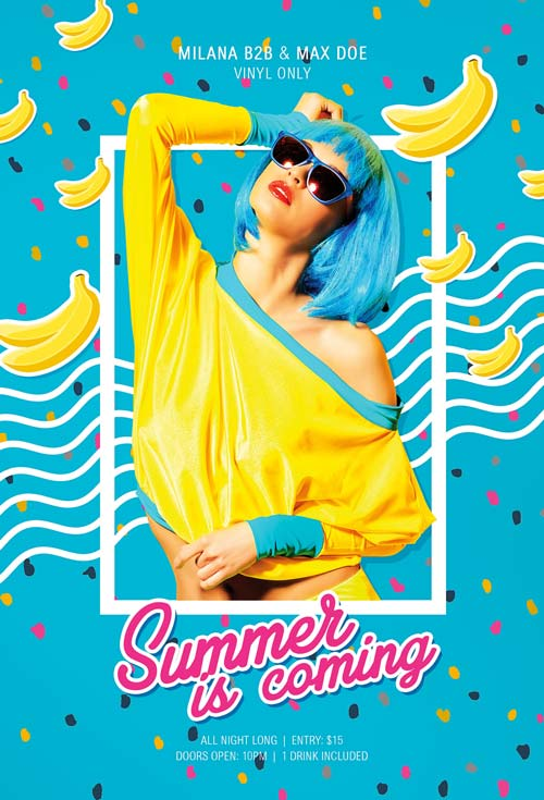 Free Banana Party Flyer and Poster Template