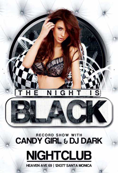 Black Night Club Party Free Flyer Template