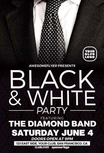 Black and White Party Free Flyer Template