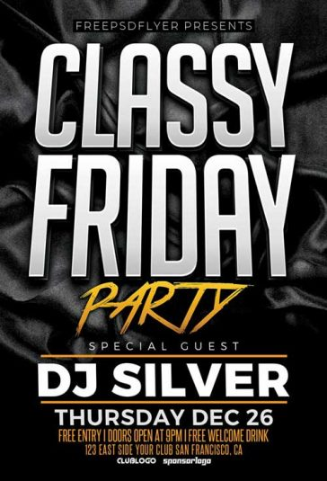 Classy Friday Party Free Flyer Template
