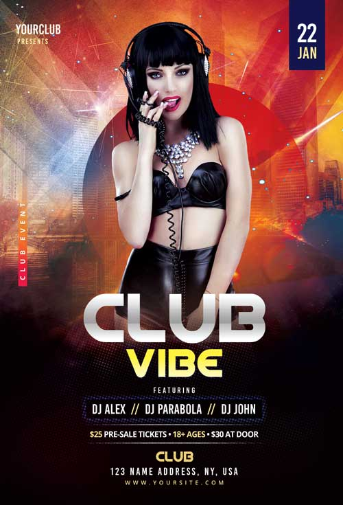 Club Vibes Party Free Flyer Template