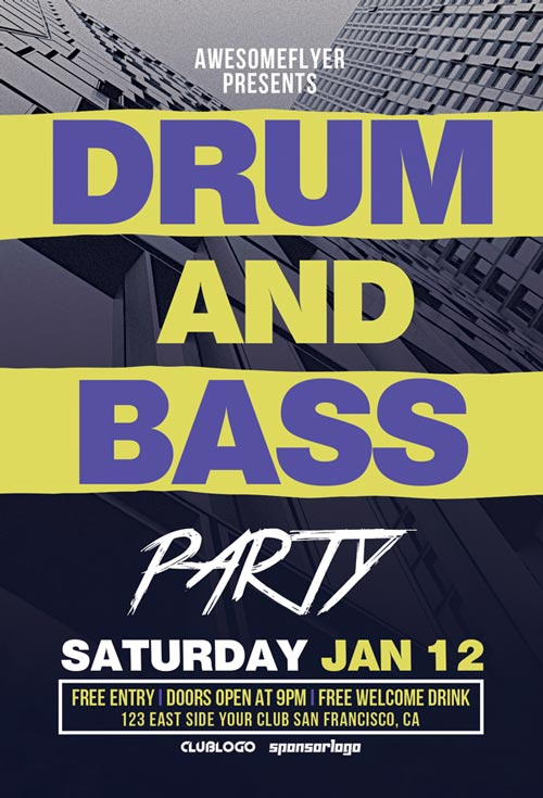 Drum and Bass Party Free Flyer Template