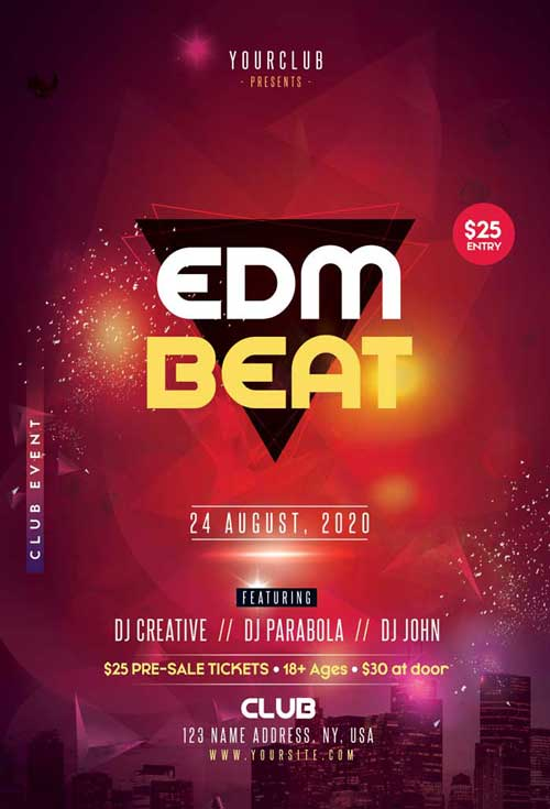 EDM Beat Party Free Flyer Template