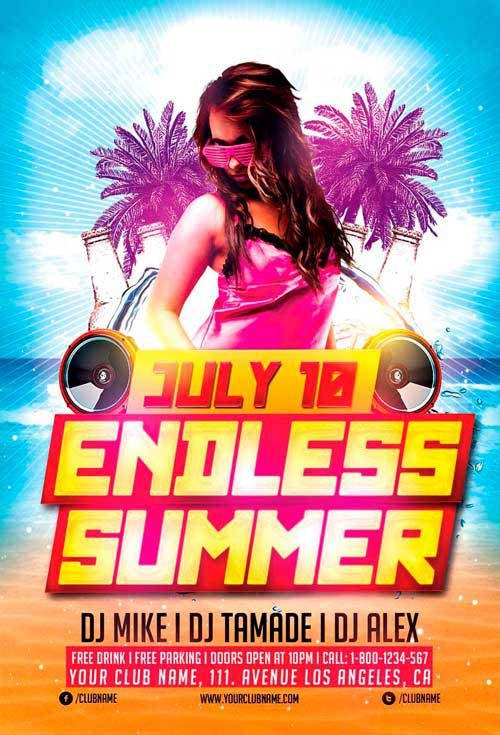 Endless Summer Party Free Flyer Template