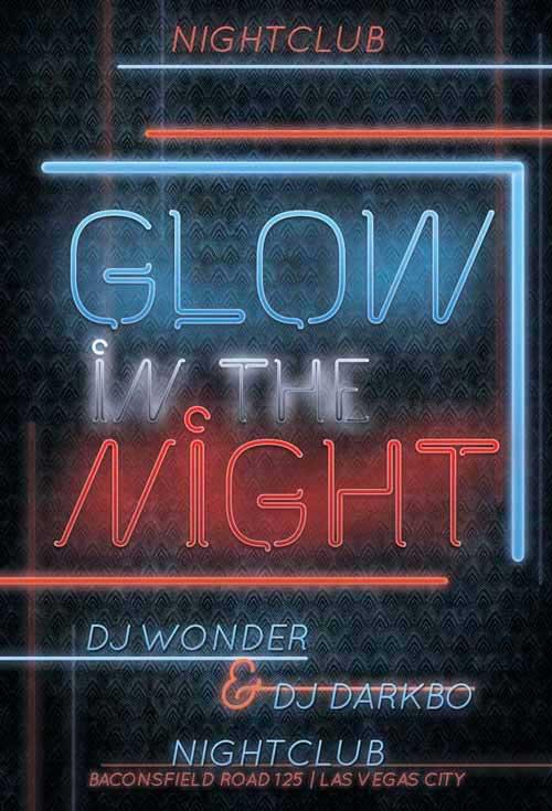 Glow Night Free Flyer Template
