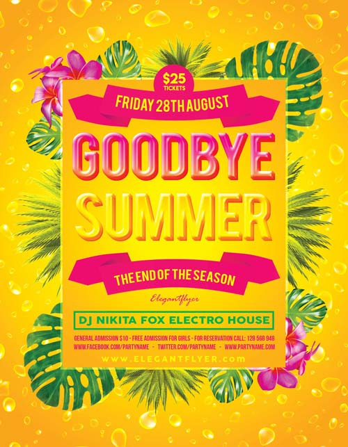 Goodbye Summer Party Flyer Template