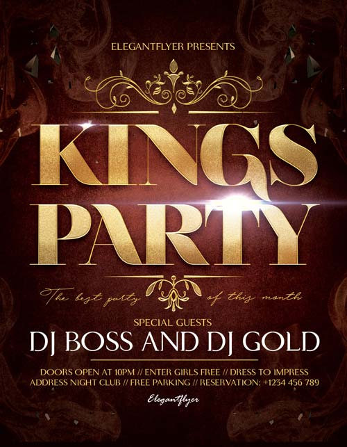 Kings Party Free Flyer Template
