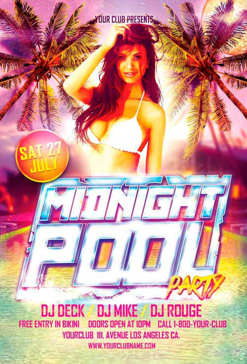 Midnight Pool Party Free Flyer Template
