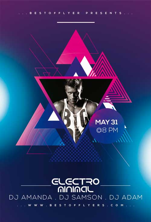 Minimal Electro DJ Free Flyer and Poster Template
