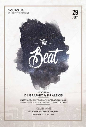 Night Beat Party Free Flyer Template