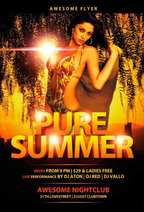 Pure Summer Party Free Flyer Template