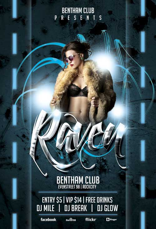 Raven Club Party Flyer Template