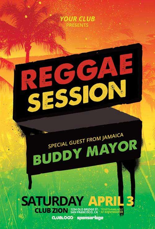 Reggae Dancehall Session Free Flyer Template