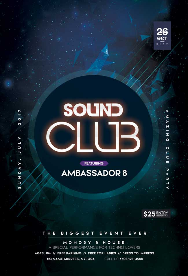 Sound Club Free Flyer Template