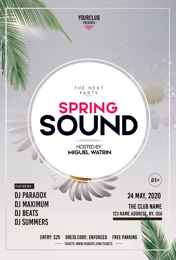 Spring Sound Party Free Flyer Template