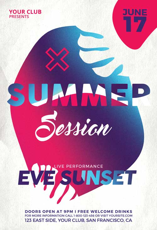 Summer Sessions Party Free Flyer Template