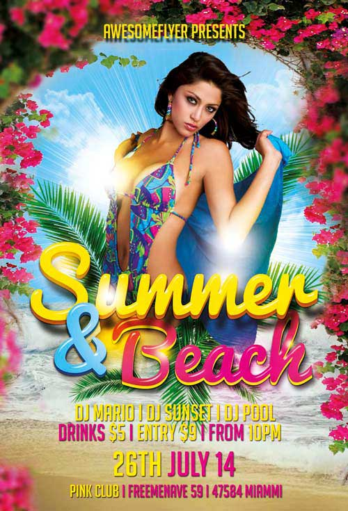Summer and Beach Free Flyer Template