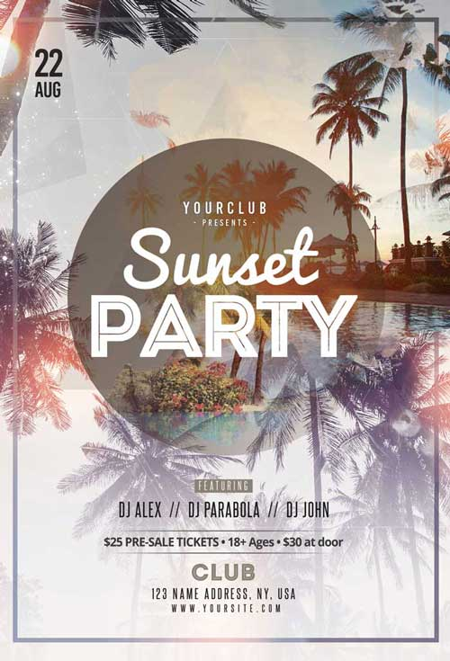 Sunset Summer Party Free Flyer Template