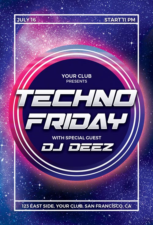 Techno Party Free Flyer Template