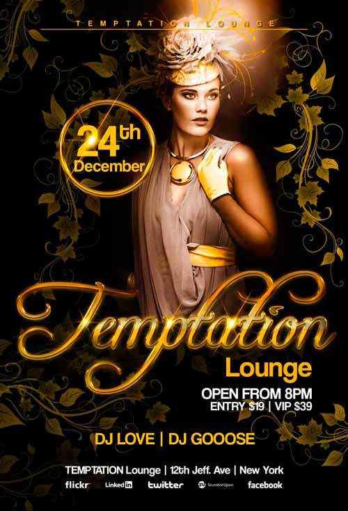 Temptation Lounge Party Free Flyer Template