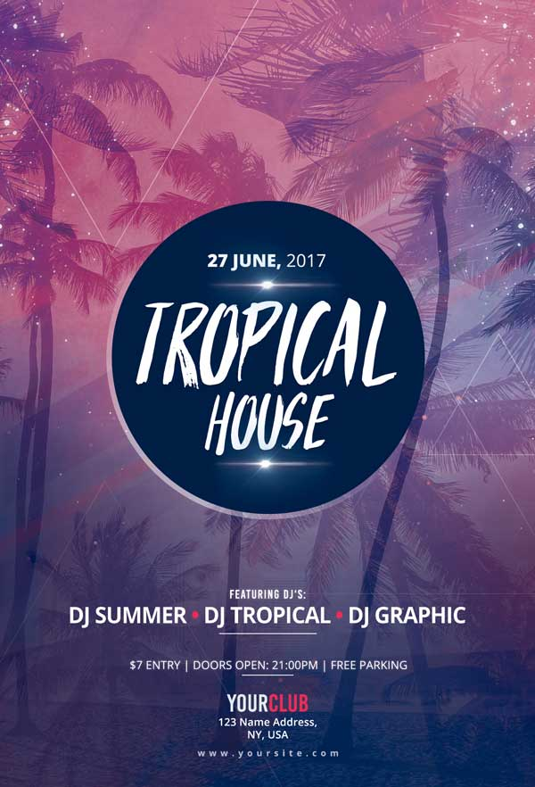 Tropical Electro House Party Free Flyer Template