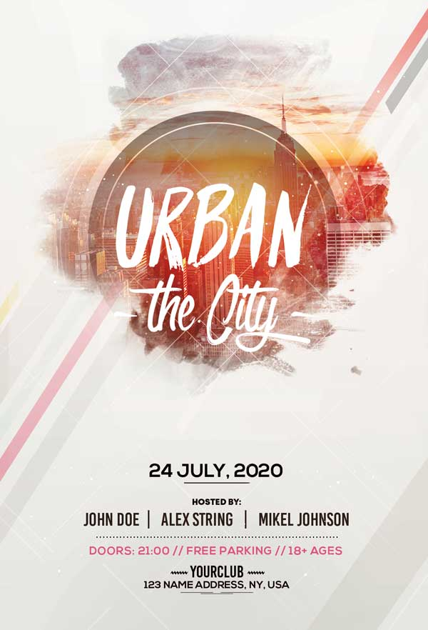 Urban City Party Free Flyer Template